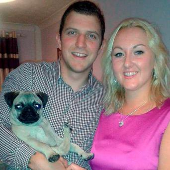 Matt Hodges with their pug Marvin and Emily Gormley, who will do a charity skydive in his honour on what would have been their wedding day after he died in a car crash on February 13 Credit: The Royal British Legion/PA Wire
