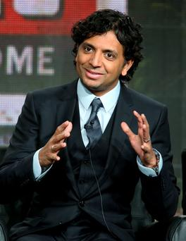 PASADENA, CA - JANUARY 17: Executive producer/director M. Night Shyamalan speaks onstage during the 'Wayward Pines' panel discussion at the FOX portion of the 2015 Winter TCA Tour at the Langham Hotel on January 17, 2015 in Pasadena, California. (Photo by Frederick M. Brown/Getty Images)