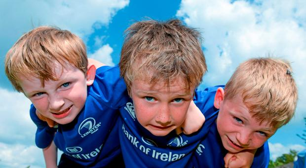 18 August 2015; Leinster rugby players Dominic Ryan and Rhys Ruddock visited the Bank of Ireland Summer Camp in Blackrock College RFC for a Q and A session, autograph signings, and a few games on the pitch. Blackrock College RFC, Stradbrook Road, Co. Dublin. Picture credit: Dáire Brennan / SPORTSFILE