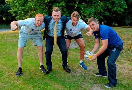 17 August 2015; Seán Carroll, Cardiac Risk in the Young supporter, along with Leinster players, left to right, Darragh Fanning, Dominic Ryan, and Luke McGrath at the announcement of Leinster Rugby's new charity partners, Cardiac Risk in the Young and The Alzheimer Society of Ireland. Leinster Rugby, Newstead Building A, UCD, Belfield, Dublin 4. Picture credit: Dáire Brennan / SPORTSFILE