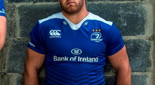 Sean O'Brien models the new Leinster rugby jersey