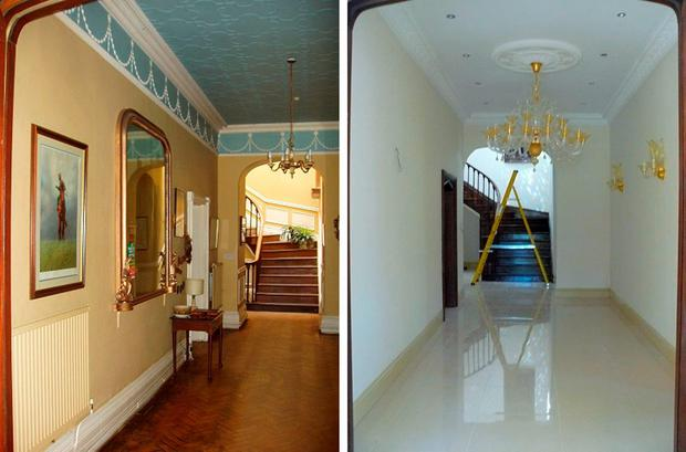 Brecon Beacons National Park Authority handout photo of the hall way of Llanwenarth House in Monmouthshire in 2005 (left) and 2010 (right) as Kim Davies has admitted five charges of making illegal alterations to the Grade II* listed building. Brecon Beacons National Park Authority/PA Wire