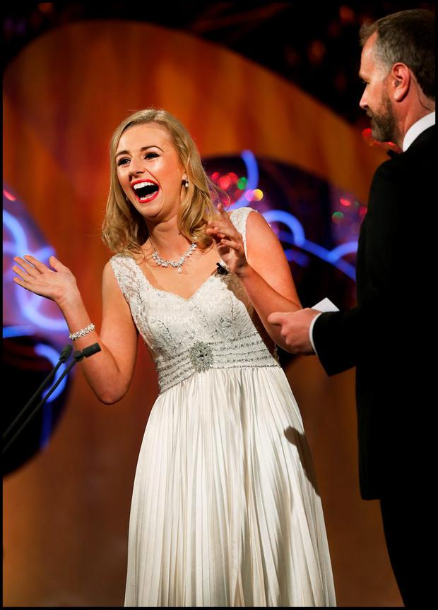 Meath Rose Elysha Brennan chats with Daithi O Sé at the Rose of Tralee in Kerry. Pic Steve Humphreys