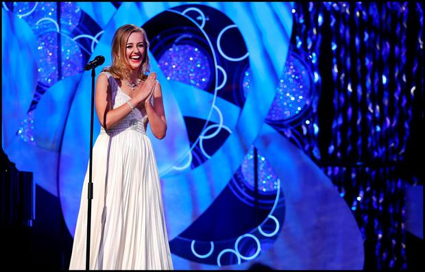 Meath Rose Elysha Brennan performing song 'Bright Blue Rose' at the Rose of Tralee in Kerry. Pic Steve Humphreys