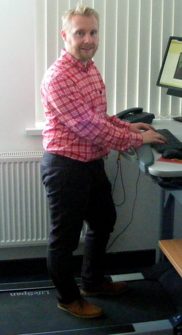 Dr Tully has a treadmill at his stand-up desk