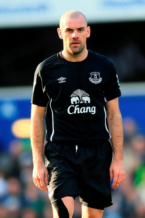 Everton star Darron Gibson crashed his car into a cyclist before driving off and hitting a petrol pump while over the drink-driving limit, it has been alleged. Photo: PA