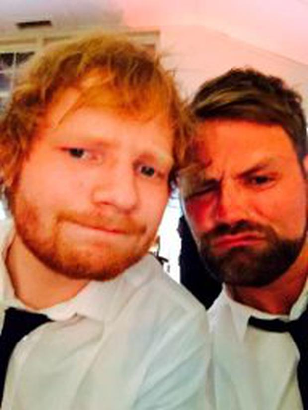 Ed Sheeran and Brian McFadden at Ronan Keating and Storms' wedding