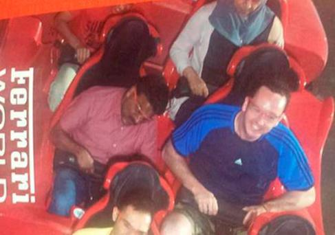 Liam Murphy takes his taxi driver Shakiha on a rollercoaster for the first time