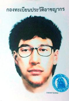 This image released by the Royal Thai Police shows a detailed sketch of the main suspect in a bombing that killed 20 people at the Erawan shrine in downtown Bangkok, on Monday(Royal Thai Police via AP)