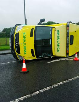 The Northern Ireland Ambulance Service (NIAS) said the crew and patient were being treated for non-life threatening injuries at the Causeway Hospital in Coleraine Credit: NIAS/PA Wire