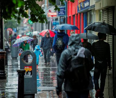 Heavy rain on Talbot Street, Dublin