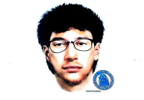 An image released by the Royal Thai Police on August 19, 2015, shows a sketch of the main suspect in Monday's deadly blast