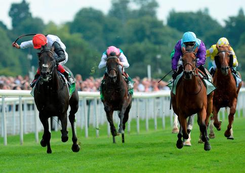 Arabian Queen ridden by Silvestre de Sousa (right) beats Golden Horn ridden by Frankie Dettori (left) to win the Juddmonte International Stakes during day one of the Welcome to Yorkshire Ebor Festival at York