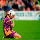 Mary Leacy, Wexford, drops to her knees in dismay at the final whistle. Liberty Insurance All-Ireland Camogie Senior Championship, Semi-Final, Galway v Wexford, Nowlan Park, Kilkenny. Picture credit: Sam Barnes / SPORTSFILE