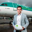 Ireland out-half Johnny Sexton was at Dublin Airport today to encourage Irish rugby fans to make the smart choice and fly with Aer Lingus as they travel to support the Ireland team. Credit ©INPHO/Billy Stickland