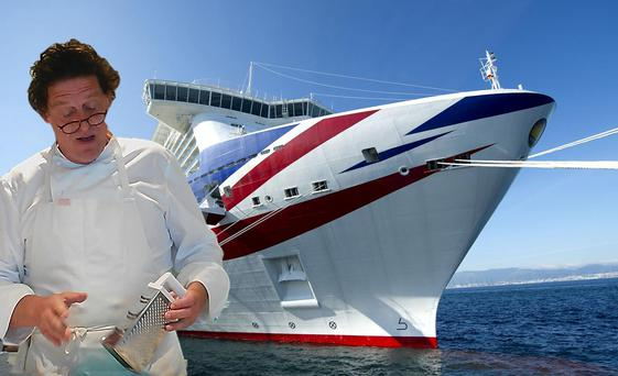 P&O'S MV Britannia has several cruises featuring celebrity chef, Marco Pierre WHite (inset). Composite photo.