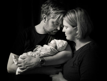 Anne Marie Gillooley with her husband John and her baby Max
