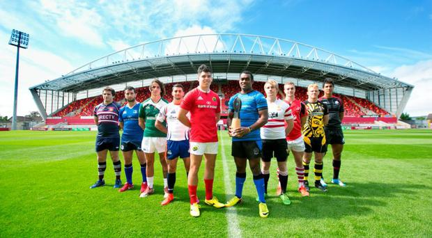 Pictured at the Limerick World Club Sevens which will take place Friday August 21 and Saturday August 22 Thomond park stadium , were the captains of the 12 competing teams Munster, Leinster, Ulster, Connacht, Ulster, Daveta Fiji , Golden Lions South Africa, Buenos Aires Argentina, New York, San Francisco, Stade France , Samurai Sevens. Picture Credit Brian Gavin Press 22