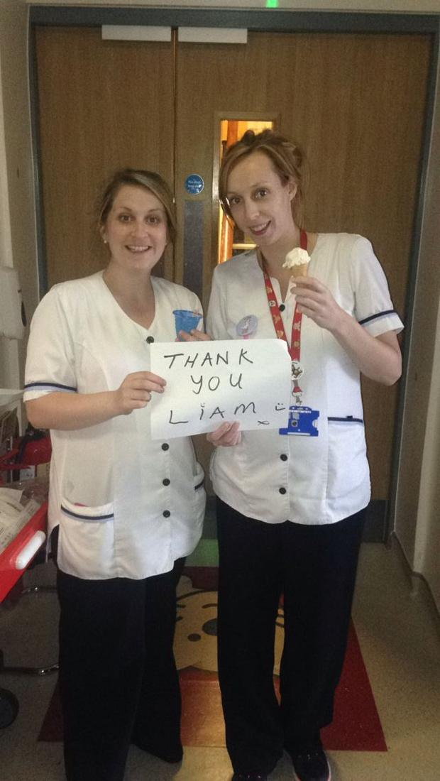 Staff at the Temple Street Children's Hospital enjoying Liam's ice-creams (Photo: Facebook/Temple Street Children's Hospital)