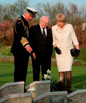 President Michael D Higgins and his wife Sabina visit V Beach cemetery with Prince Charles, close to the area where most of the Irish casualties occurred, to mark the 100th anniversary of the Gallipoli campaign during the Great War