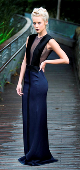 Gracie O Mahony wears a Galvan navy dress (€1,400) at the launch of the AW15 look at Harvey Nichols Photo: Leon Farrell