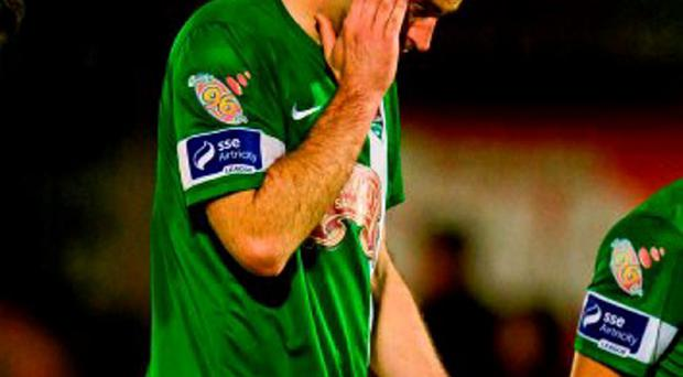 Dan Murray pictured here after Cork City's defeat by Limerick FC last week, will be hoping for a happier outcome at Turners Cross tonight