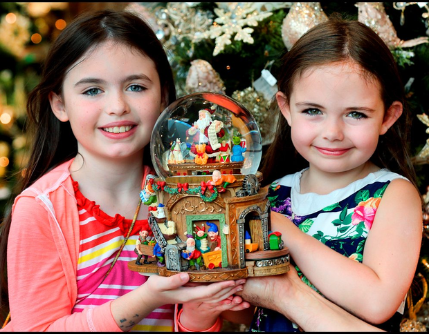 Sisters Laura (8) and Rachel (5) Scott, from Leopardstown, at the BT Christmas Market Photo: Steve Humphreys