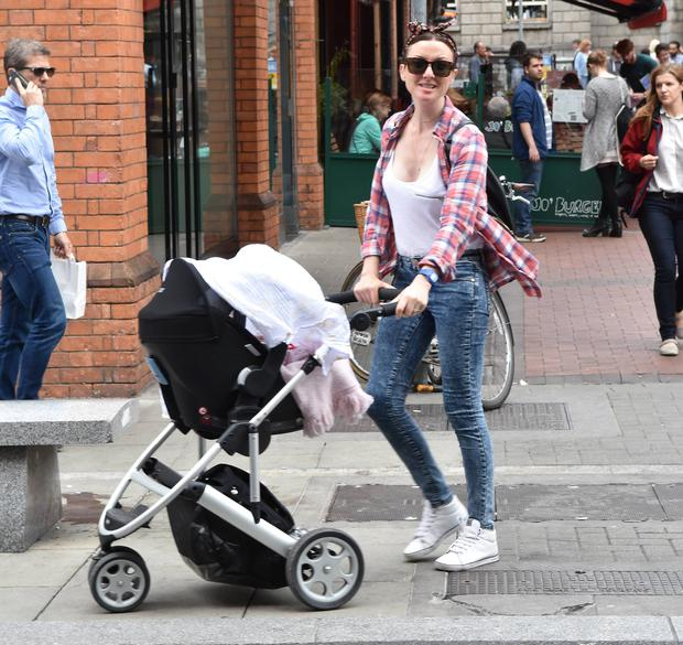 TV presenter Jennifer Maguire & husband Lauterio Zamparelli looked every bit the doting parents as they enjoyed lunch outside Jo Burger with new baby daughter Florence Myra Zamparelli, Dublin, Ireland - 20.08.15. Pictures: Cathal Burke / VIPIRELAND.COM *** Local Caption *** Jennifer Maguire, daughter Florence Myra