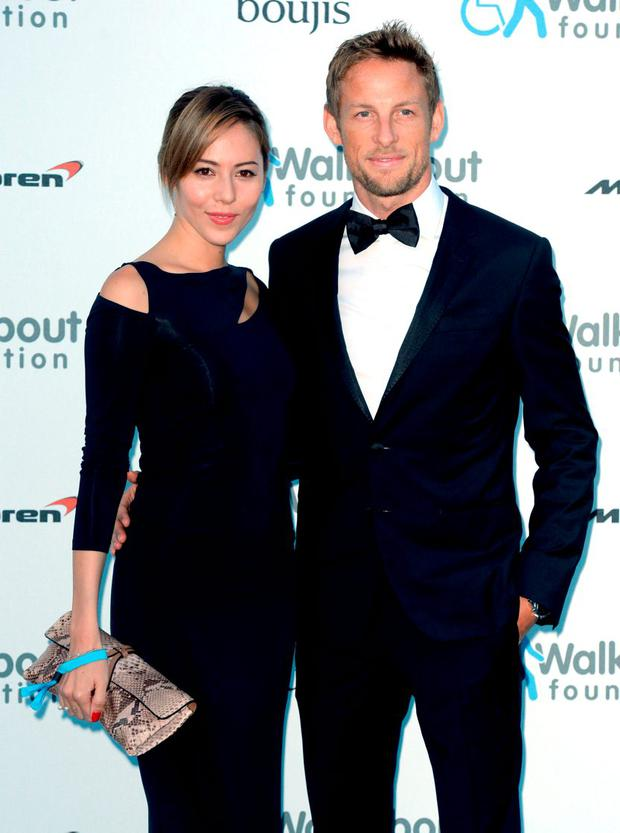 Jenson Button and his wife Jessica. Photo: Anthony Devlin/PA Wire.