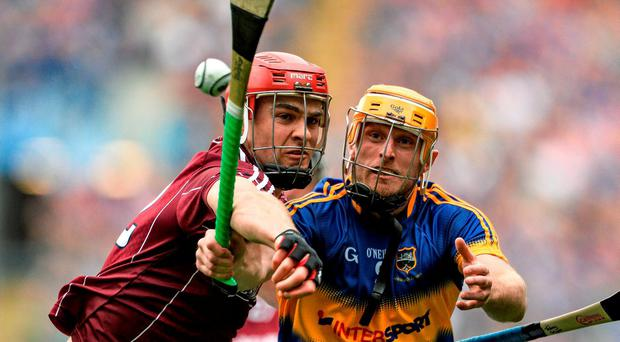 Tipperary's Shane McGrath tries to get away from Johnny Glynn of Galway during last week's epic All-Ireland SHC semi-final DAVID MAHER/SPORTSFILE
