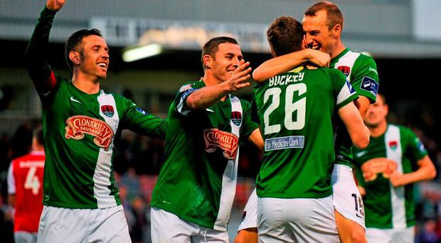 Garry Buckley, Cork City, celebrates with team mates after scoring his side's first goal. FAI Cup, Third Round, Cork City v St Patrick's Athletic, Turners Cross, Cork. Picture credit: Eóin Noonan / SPORTSFILE