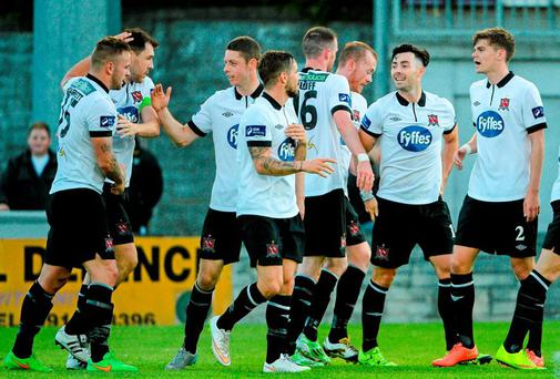 Dundalk players celebrate their third goal. FAI Cup, Third Round, Galway United v Dundalk, Eamonn Deasy Park, Galway. Picture credit: Sam Barnes / SPORTSFILE