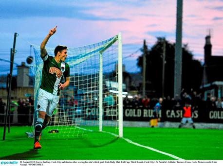 21 August 2015; Garry Buckley, Cork City, celebrates after scoring his side's third goal. Irish Daily Mail FAI Cup, Third Round, Cork City v St Patrick's Athletic, Turners Cross, Cork. Picture credit: Eóin Noonan / SPORTSFILE