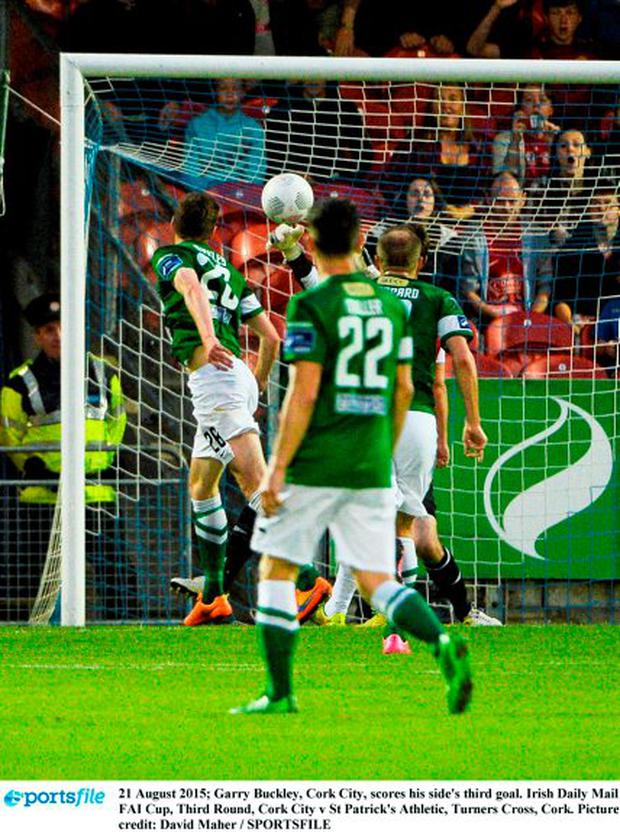 21 August 2015; Garry Buckley, Cork City, scores his side's third goal. Irish Daily Mail FAI Cup, Third Round, Cork City v St Patrick's Athletic, Turners Cross, Cork. Picture credit: David Maher / SPORTSFILE