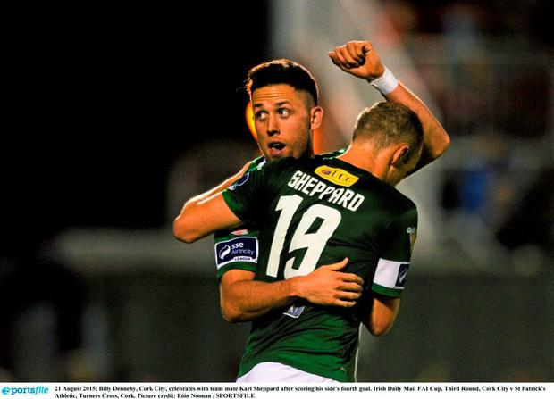 21 August 2015; Billy Dennehy, Cork City, celebrates with team mate Karl Sheppard after scoring his side's fourth goal. Irish Daily Mail FAI Cup, Third Round, Cork City v St Patrick's Athletic, Turners Cross, Cork. Picture credit: Eóin Noonan / SPORTSFILE