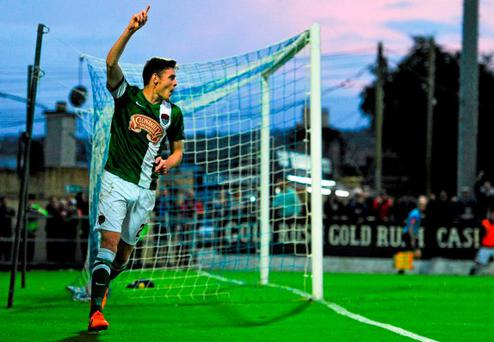 Garry Buckley celebrates after scoring his Cork's third goal
