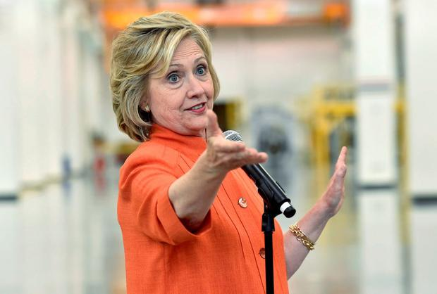 Democratic presidential candidate Hillary Clinton addresses union members as she tours the Carpenters International Training Center in Las Vegas. Photo: Reuters