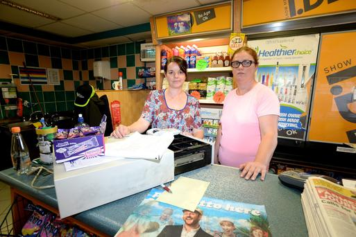 Laura Gilmore and Deirdre Lynch pictured in the Village Store Kildalkey Co.Meath where there was an armed robbery last night. Pic: Justin Farrelly.