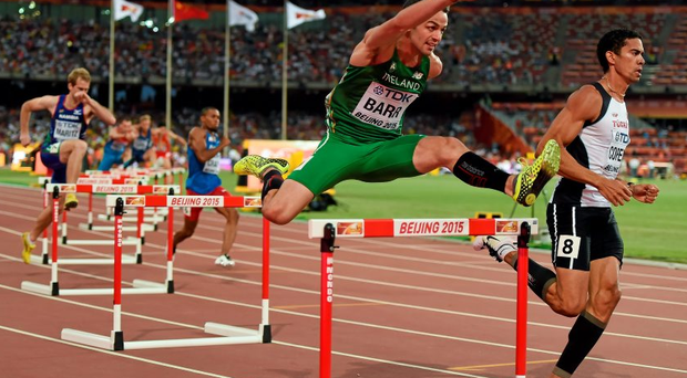 Thomas Barr in action during the heats of the Men's 400m hurdles event. IAAF World Athletics Championships Beijing 2015 - Day 1, National Stadium, Beijing, China. Picture credit: Stephen McCarthy / SPORTSFILE