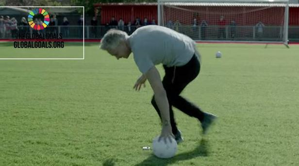 Gary Lineker attempts the 'dizzy' penalty challenge