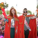 The 2014/15 King and Queen of the Redheads, Gary Fitzgibbon from Crosshaven and Laura-May Keohane from Kinsale, pictured onstage at the 2014 Irish Redhead Convention in Crosshaven. Photo: Diane Cusack