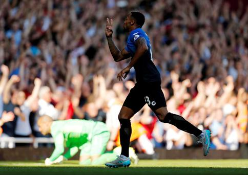 AFC Bournemouth's Callum Wilson celebrates scoring his teams fourth goal and completes his hat-trick during the Barclays Premier League match at Upton Park