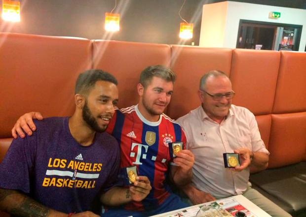 BEST QUALITY AVAILABLE Handout photo issued by Arras City Hall of (left-right) Sacramento State University student Anthony Sadler, National Guardsman Alek Skarlatos and British consultant Chris Norman during a press conference at Arras City Hall, France, after they overpowered a gunman on a train in France. PRESS ASSOCIATION Photo. Picture date: Saturday August 22, 2015. The men, who were travelling from Amsterdam to Paris aboard the high-speed Thalys train when the heavily armed man opened fire, received the Town of Arras medals for their bravery. See PA story POLICE Train. Photo credit should read: Frederic Leturque/Mayor of the Town of Arras/PA Wire NOTE TO EDITORS: This handout photo may only be used in for editorial reporting purposes for the contemporaneous illustration of events, things or the people in the image or facts mentioned in the caption. Reuse of the picture may require further permission from the copyright holder.