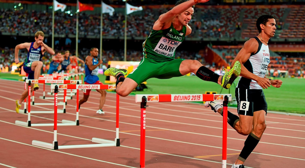 Thomas Barr on his way to advancing to today's 400m hurdles semi-final in Beijing