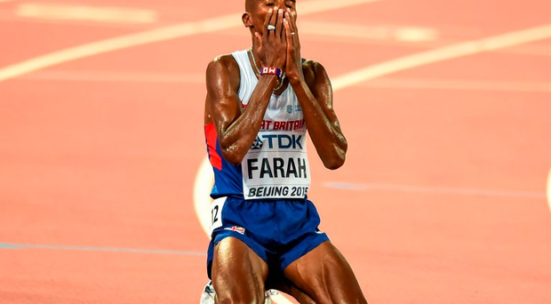 Mo Farah of Great Britain after winning the final of the Men's 10,000m event