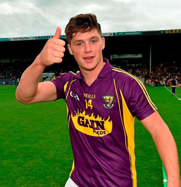 Wexford's Conor McDonald jubilant after the game