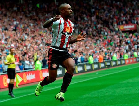 Jermain Defoe celebrates his equaliser for Sunderland