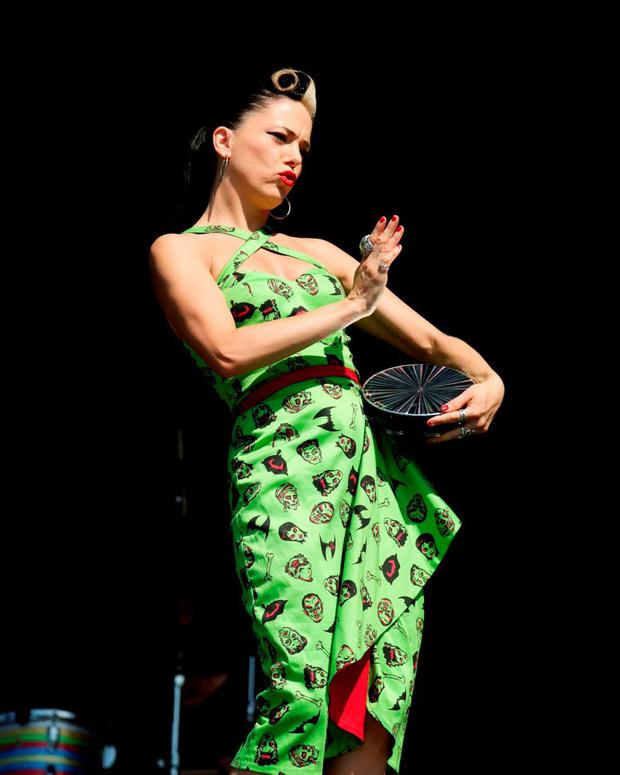 Imelda May performing on the Virgin Media Stage during day one of the V Festival, at Hylands Park in Chelmsford, Essex. PRESS ASSOCIATION Photo. Picture date: Saturday August 22, 2015. Photo credit should read: Yui Mok/PA Wire