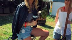 Laura Whitmore poses backstage at V Festival. PIC: @thewhitemore Instagram