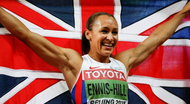 Jessica Ennis-Hill reacts after winning the women's heptathlon during the 15th IAAF World Championships at the National Stadium in Beijing